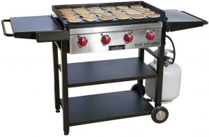 camp chef best grill and griddle combo with two wheel and propane tank attachments