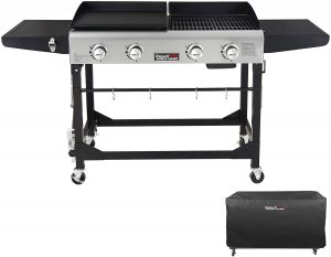 4 burners cast iron portable best grill and griddle combo with four wheels