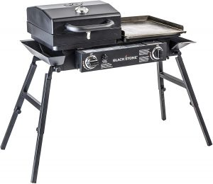 best grill and griddle combo with foldable legs two burners and grill lid