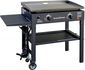 blackstone two wheeled portable best grill adn griddle combo with auto ignition and shelves