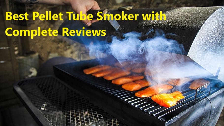 bbq steaks on black gas grill with white smoke rising higher from grates